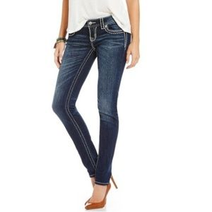 Miss Me Sunny Skinny Embroidered Denim Jeans 28